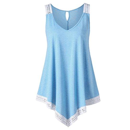 Challeng Damen Tops, Damen Bluse Beiläufig V-Ausschnitt Swing Spitze Asymmetrisch Solide Weste Tank Tops (S, Blau)