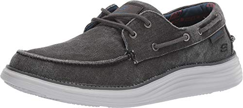 Skechers Status 2.0 - Lorano Moc Toe Canvas Deck Schuh Oxford, Schwarz (schwarz), 45.5 EU Casual Canvas Oxford