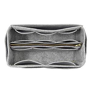 [Passt Neverfull MM/Speedy 30, Grau] Geldbörse einfügen (3 mm Filz, abnehmbare Tasche w/Metall Zip), Filz Tasche Organizer