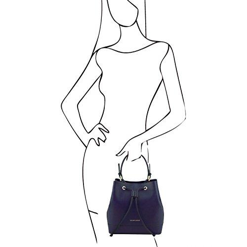 Tuscany Leather Minerva Borsa secchiello da donna in pelle Saffiano Cognac Blu scuro