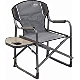 Folding Chair for camping and trips with side table, Gray