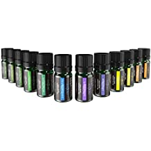 Anjou Essential Oils Set (12 x 5 mL Oils, 100 Percent Pure Lavender, Sweet Orange, Tea Tree, Eucalyptus, Lemongrass, Peppermint, Bergamot, Frankincense, Lemon, Rosemary, Cinnamon, and Ylang-Ylang)