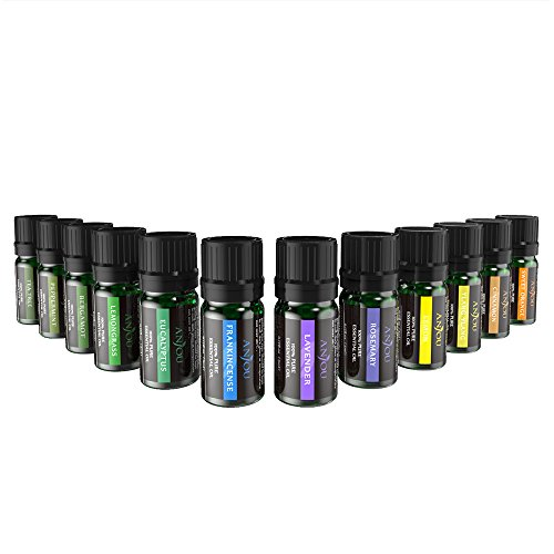 Aromatherapie Duftöl Anjou Ätherisches Öle Set (12 x 5 ml 100% Pur Lavendel, Orange, Teebaum, Eukalyptus, Lemongras, Pfefferminz, Bergamotte, Weihrauch, Zitrone, Rosmarin, Zimt und Ylang-Ylang)