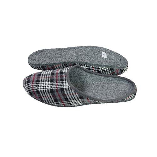 Pantofole in feltro con suola in feltro, produzione tedesca, colori grigio, marrone, blu taglia 37–48 Grau