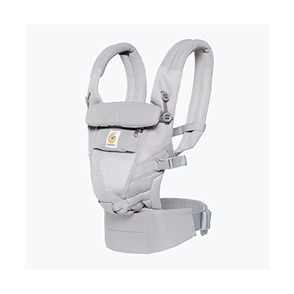 Ergo Baby Ergobaby Original Adapt Cool Air Mesh Baby Carrier Pearl Grey Ergobaby Baby Carrier for newborns – The ergonomic bucket seat gradually adjusts to your growing baby, to ensure baby is seated in a natural frog-leg position (M-shape position) from birth to toddler (3.2 to 20kg / 7-45lbs). NEW – Now with lumbar support. Long-wearing comfort for parents with even weight distribution between hips and shoulders. Lumbar support waistbelt that can be adjusted to the height of the carry position for extra, long-wearing comfort. Adapt 3carry positions: front-inward, hip and back. The carrier has a padded, foldable head and neck support and a tuck-away baby hood for sun protection (UPF50+) and privacy. It is possible to breastfeed in the carrier. 1