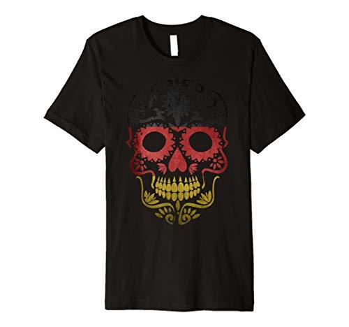 Ger Tag der Toten T-Shirt Sugar Skull Dia de los (Tag Der Toten Frauen Kostüm)