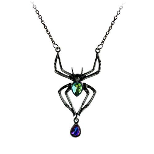Fenical Spinnen-Halskette kreativer Punkart Diamant-Verkrustete Muster-Hängende Hängende Halskette -
