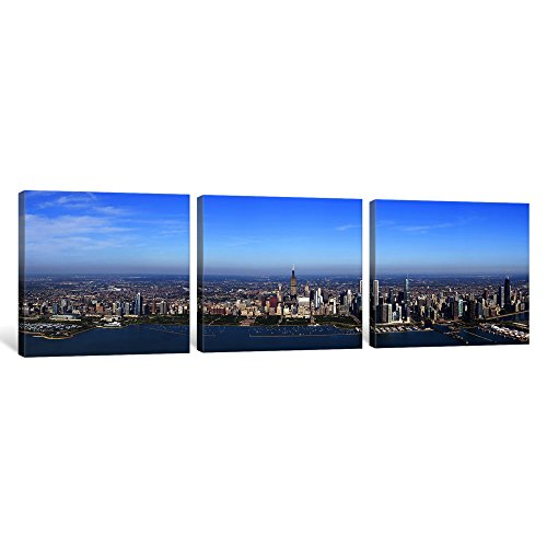 icanvasart 3Stück Antenne View of a Cityscape, Trump International Hotel and Tower, Willis Tower, Chicago, Cook County, Illinois, USA Leinwand Kunstdruck Panorama Bilder, 121,9x 40,6cm/3,8cm Tiefe -