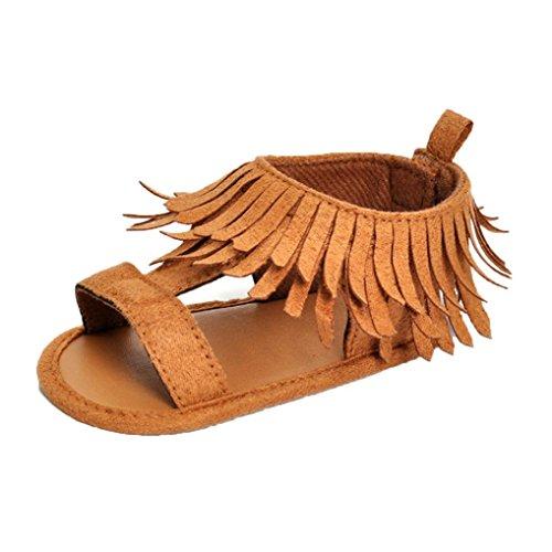 Suaves Solas Antiderrapantes Sapatos Sandálias Cáqui Bzline® Macios Borla Bebê 1TnCWtxW