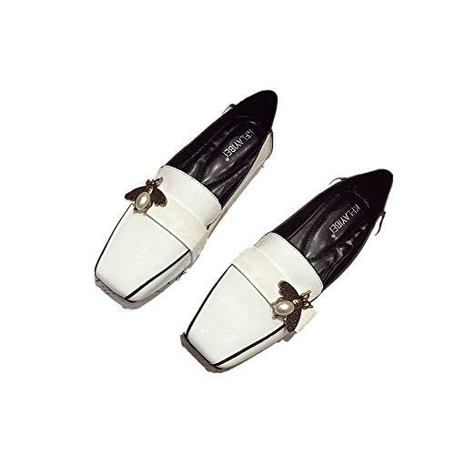 Mokassins Europa Und Die Vereinigten Staaten Frühling Mode Lack Leder Biene Frauen Schuhe Quadratischen Kopf Britische Wind Einzelne Schuhe Faule Schuhe, 39, Weiß