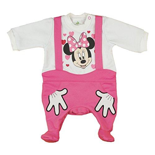 Minnie Mouse gefütterter Strampler im Lagenlook weiß-rosa Size 68 (Minnie Mouse Kapuzenjacke)