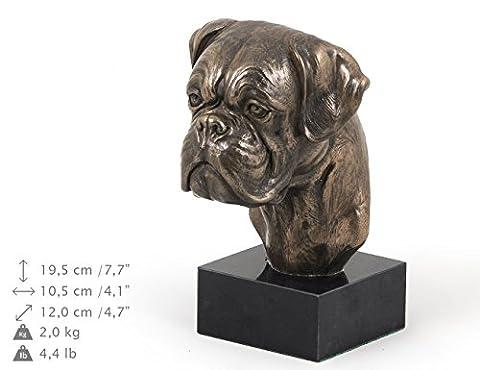 Boxer (uncropped), Hund, Marmor, Statue, Kopf, Limitierte Edition, Art Dog