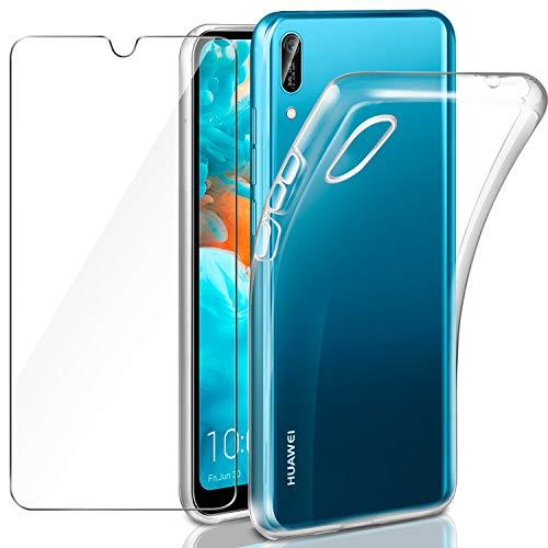 Leathlux Coque Huawei Y6 2019 Transparente + Verre trempé Protection écran, Souple Silicone étui Protecteur Bumper Housse TPU Case Cover Coque pour Huawei Y6 2019 / Y6 Pro 2019