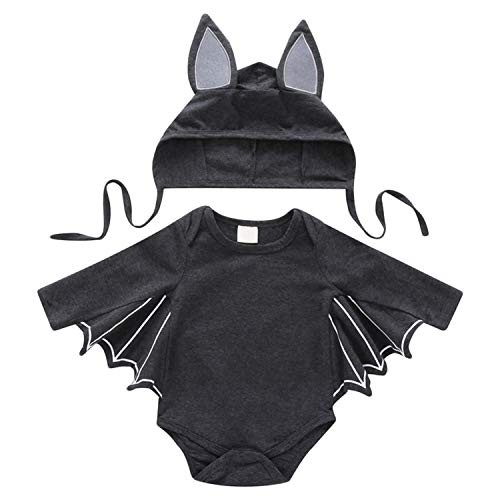 De feuilles Baby Fledermaus Outfit Langarm Halloween Cospaly Kostüm Strampler Romper Hut Outfits ()