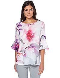 Roman Originals - Top Manches Pagodes Volants Motif Floral - Femme