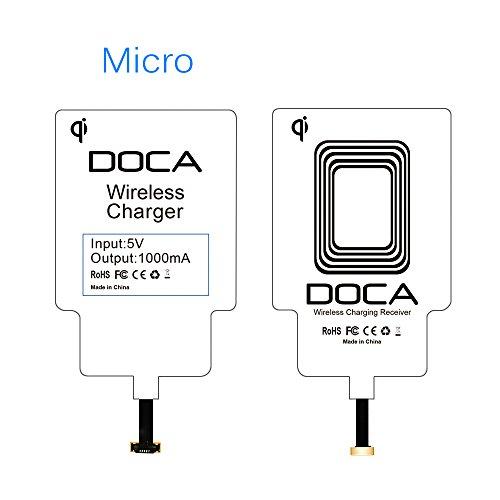 DOCA Wireless Ladegerät Empfänger Wireless Charger Receiver Micro Qi Empfänger Ultra Slim für Android Handy Samsung Galaxy S4/S3 (Qi-receiver)