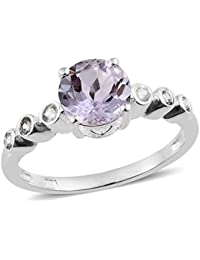 TJC Women 925 Sterling Silver Cushion Morganite Quartz Solitaire Ring Size Q DDcJ0CwiA