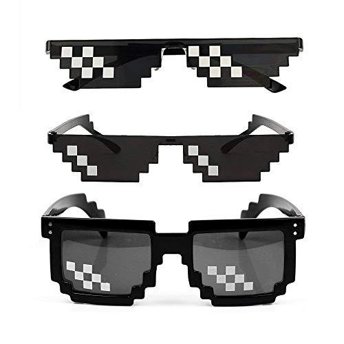 HAPPYX Thug Life Sunglasses, Sonnenbrille Sie Sich mit 8 Bit Pixel, Mosaik, Unisex Sonnenbrille Spielzeug, Stil MLG Schattierungen (3 Pack)