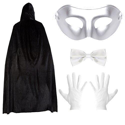 Robelli Herren Schlicht Maske Halloween Maskenball Umhang Satz - Umhang, Maske, Fliege & Handschuh Satz - Silber / Weiß