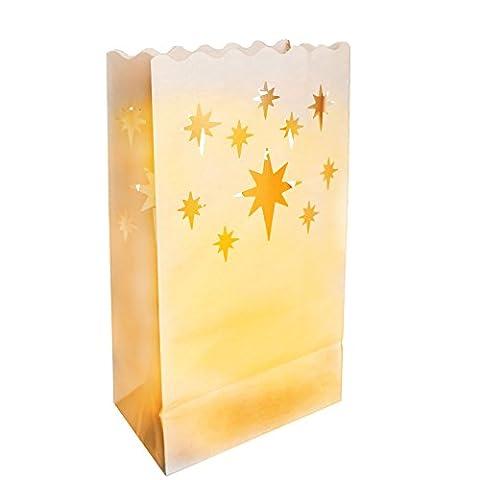 10er Set Papiertüten Kerzentüten Lichttüten Dekorative Laternen Sterne Design Weiße von Kurtzy - Kernstück Kunsthandwerk Dekorationen für Hochzeiten und Geburtstage - Schwer Entflammbar - Große Laternen - Mit Teelichter Verwenden (Normal oder (Großhandel Wand-aufkleber)