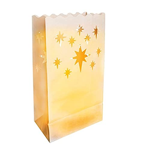 Star 10 x White Craft Paper Tea Light Holder Lantern
