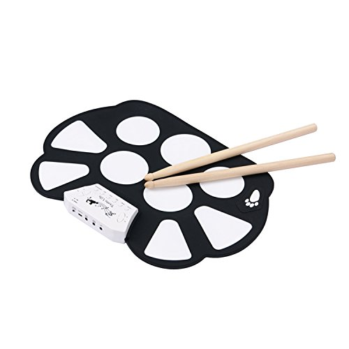exotic-life-mini-usb-portable-silicon-foldable-electronic-roll-up-drum-pad-kit-with-stick-black