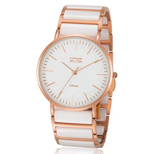 ALEXANDER MILTON - montre femme - CERES, blanc/dore rose