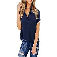 JiaMeng Blusas para Mujer Elegantes Camisa Casual de Manga Corta de Gasa Tops Blusa Camiseta