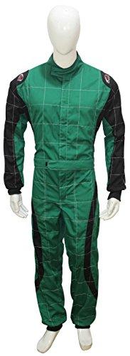 PM Sports Erwachsene Go Kart Karting Anzug Race Rally passt Poly Baumwolle One Piece Karting Anzug S grün/schwarz