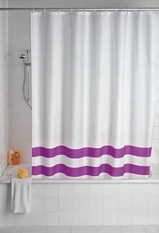 WENKO Duschvorhang Tropic Lila - Textil - 180 x 200 cm (BxH) - inkl. 12 Duschvorhangringe - Vorhang f. Wanne oder