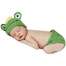 Aivtalk - Ropa de Fotos para Bebés Recién Nacidos Disfraces Trajes Apoyo de Fotografía Conjunto de 2 pcs Sombrero Pantalones Cortos de Punto de Ganchillo - Rana - Verde
