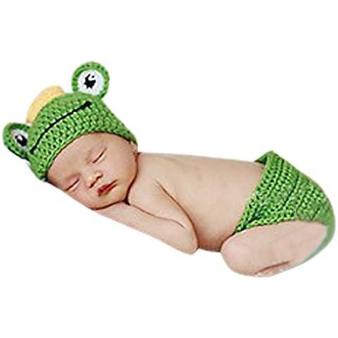 Aivtalk - Ropa de Fotos para Bebés Recién Nacidos Disfraces Trajes Apoyo de Fotografía Conjunto de 2 pcs Sombrero Pantalones Cortos de Punto de Ganchillo - Rana -