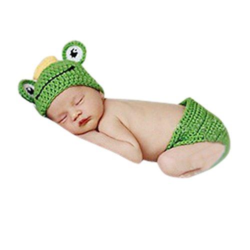 Imagen de aivtalk  ropa de fotos para bebés recién nacidos disfraces trajes apoyo de fotografía conjunto de 2 pcs sombrero pantalones cortos de punto de ganchillo  rana  verde