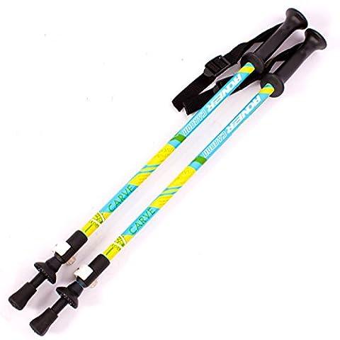 Kinder Wanderstöcke Trekkingstöcke, verstellbar 50cm-90cm ANTI-SHOCK-System Stoßdämpfer Superleicht Carbon Fiber Stöcke Hiking Wandern Bergsteigen für Kinder, Blau, Zweierpack