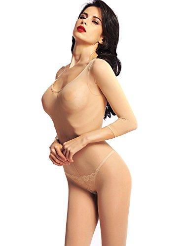 218643ba4e7 Amoretu Womens Lingerie Long Sleeved Body Stocking Nude Black ...