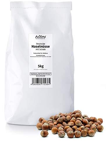 AniForte deutsche Haselnüsse 5kg - Ganze Nüsse in Schale aus Deutschland, Tierfutter, Futter für Tiere, Kleintiere, Eichhörnchen, Streifenhörnchen, Nagetiere, Rein natürlich, Lebensmittelqualität - Schalen Futter