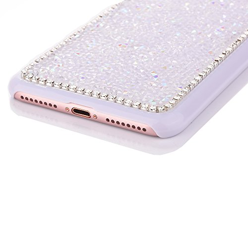 "Dur Plastique Protecteur étui avec Plaquage Bord pour Apple iPhone 7 4.7"", CLTPY Mode Beau Gelée Paillette Shiny Diamant Etui, Ultra Fine Clair Shell de Protection Bumper Case pour iPhone 7 + 1x Style Blanc"