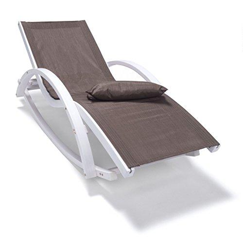 Relaxliege mit Armlehnen | Gartenmöbel aus Holz weiß gestrichen | Stuhl Bespannung braun