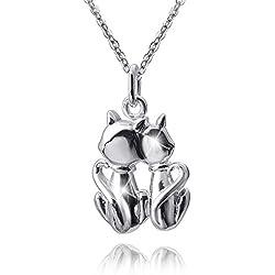 MATERIA 45cm collar con mujer niños Gatos colgante de plata 925con grabado en rodio Incluye caja # 349–30
