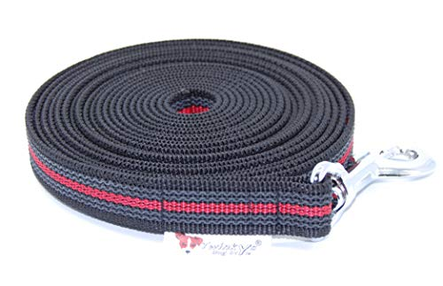 Twinkys Dog Style Schleppleine gummiert 20 mm breit für Hunde bis 50 kg in der Länge 7,5 Meter ohne Handschlaufe Schwarz Rot