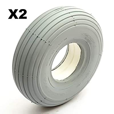 2x Solid PU Tyre 260x85 4 Inch Rim Grey Puncture Proof Fits Mobility Scooter 4 Ply Line Ribbed Tread