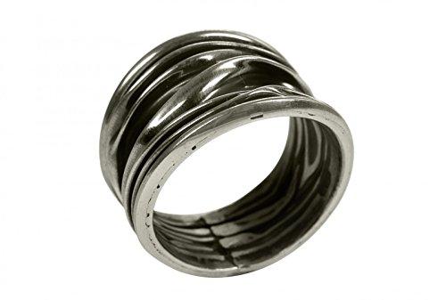 SILBERMOOS XL XXL Ringe in großen Größen Damenring Faltring Struktur Wellen gefaltet geschwärzt glänzend Größe 64, 66, 68, 70 Sterling Silber 925, Größe:70 (22.3)