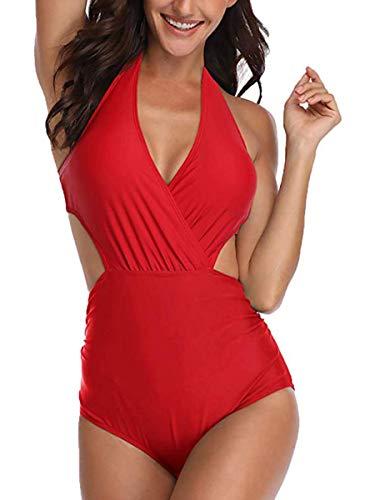 Summer Mae Damen Badeanzug V-Ausschnitt Monokini Neckholder Rückenfrei Einteiliger Bademode Bedruckt Sexy Cutouts Bauchweg Bikini Rot M - Sexy Neckholder Bikini Badeanzug