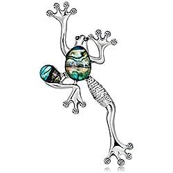Defect Broche Ropa Europea y Americana con Broche de Concha de Rana Verde Broche Broche Animal Creativo 2-Piece Set