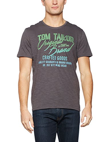 TOM TAILOR Herren T-Shirt Tee with Contrast Details Grau (Tarmac Grey 2983)