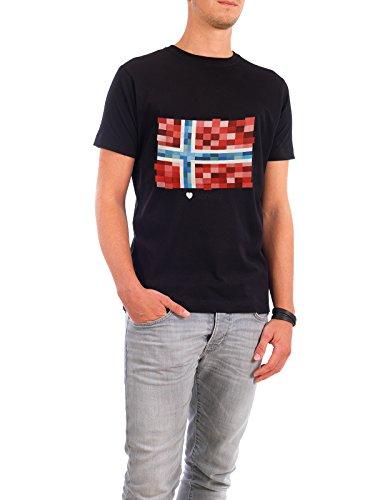 """Design T-Shirt Männer Continental Cotton """"Norway Flag"""" - stylisches Shirt Reise Reise / Länder von GREENGREENDREAMS Schwarz"""
