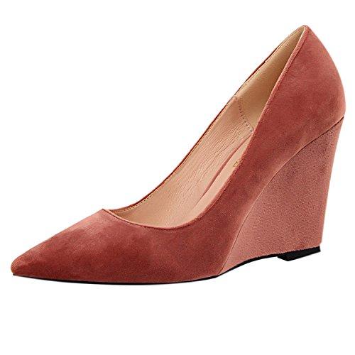 Oasap Women's Pointed Toe Slip-on Low Top Wedge Heels Pumps pink