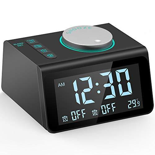 Ksera Reloj Despertador con Radio FM, Multifunción Radio Reloj Despertador Digital, Alarma Dual con 7 Sonidos de Alarma, Indicador de Temperatura, 5 Nivel Brillo Ajustable, Puerto de Carga USB Dual
