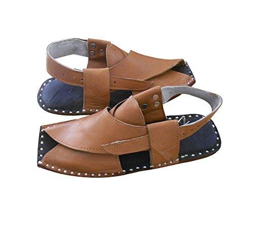 kalra Creations Veste en cuir traditionnel Indien Party sandales Marron