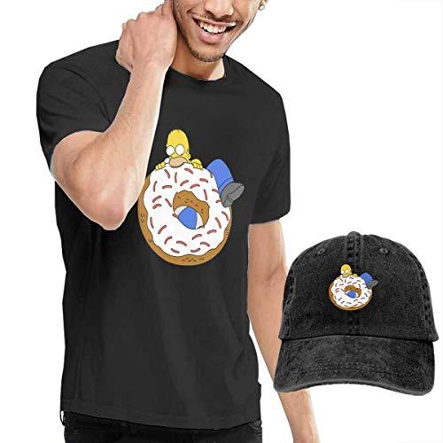T-Stücke, Homer Simpson Men's Classic T-Shirt mit Washed Denim Baseball Hat Schwarz ()